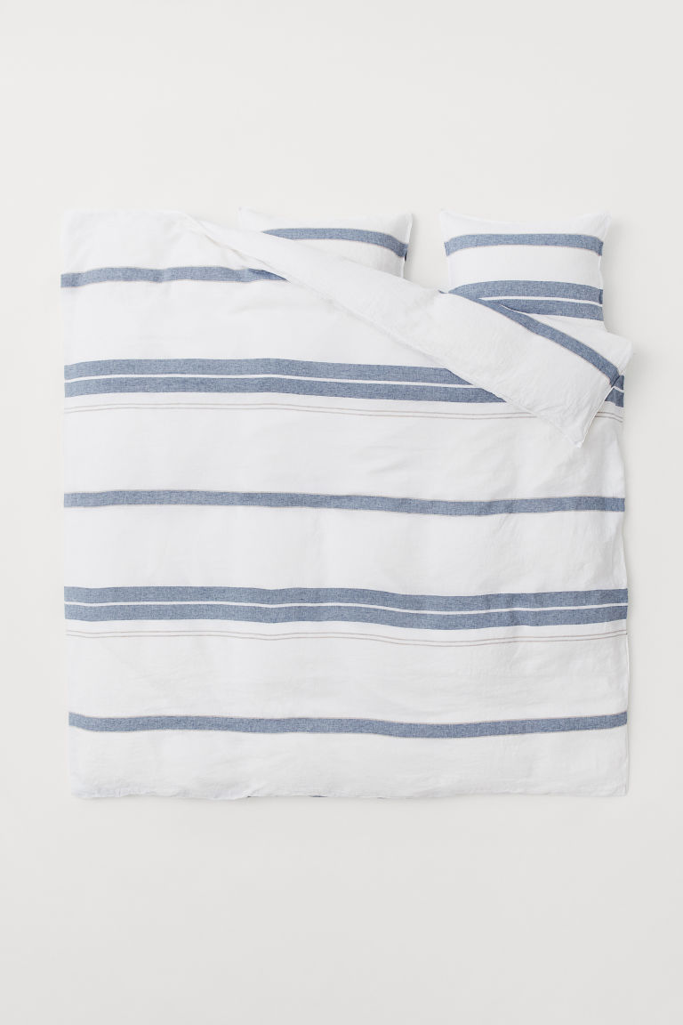 Washed Linen Duvet Cover Set - White/blue striped - Home All | H&M US 2