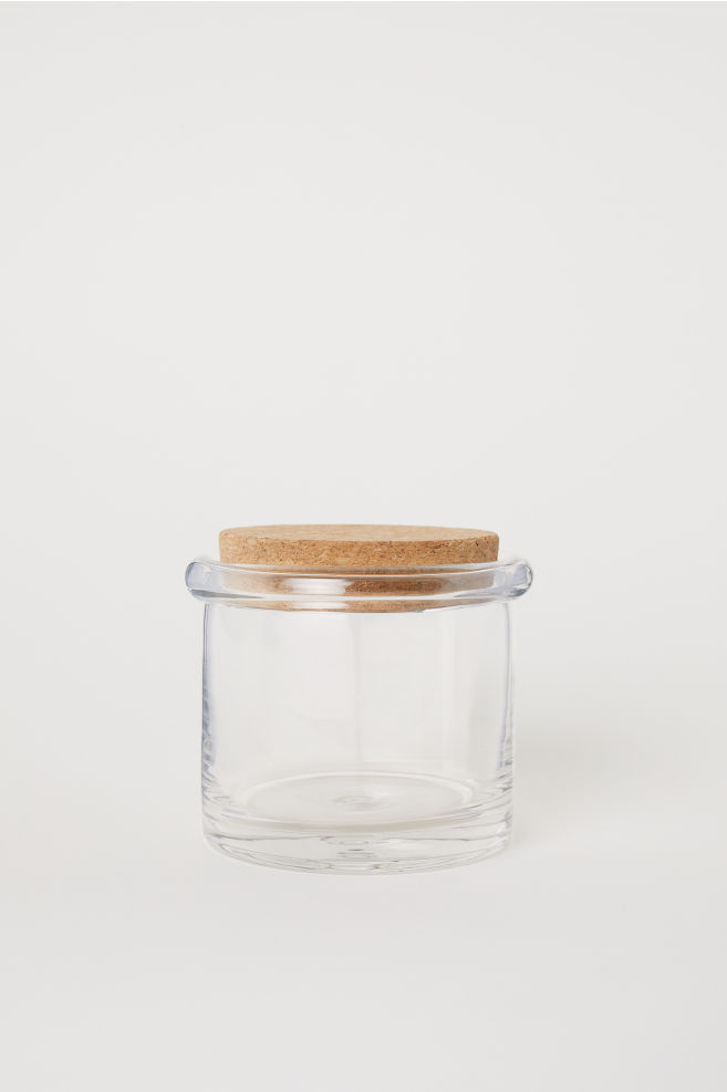 Short glass storage jar