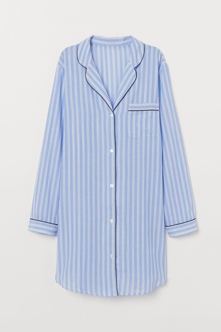 Patterned Nightshirt - Light blue/white striped - Ladies | H&M US 5