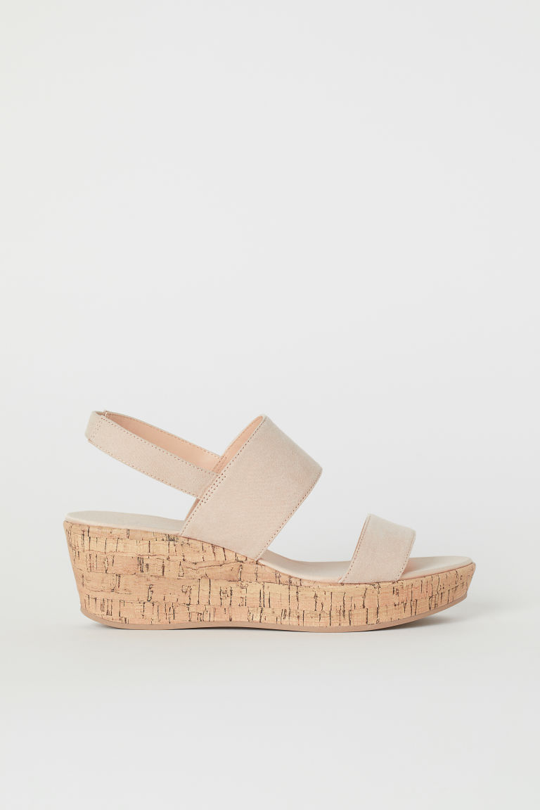 Wedge-heel Sandals - Powder pink/natural - Ladies | H&M US 1