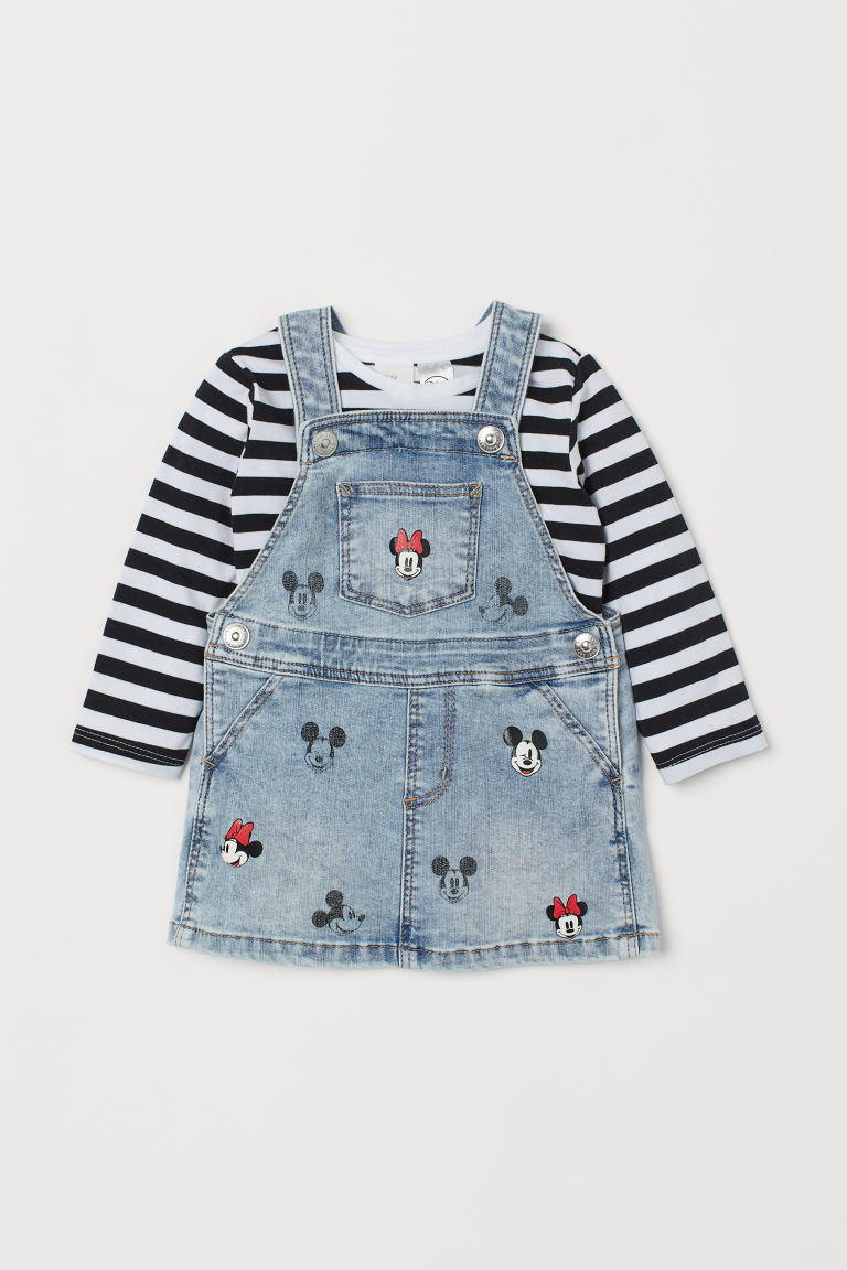Bib Overall Dress and Top - Light denim blue/Minnie Mouse - | H&M US