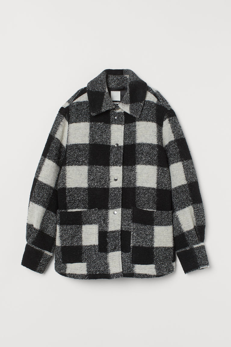 Wool-blend Shirt Jacket - Black/white checked - Ladies | H&M US