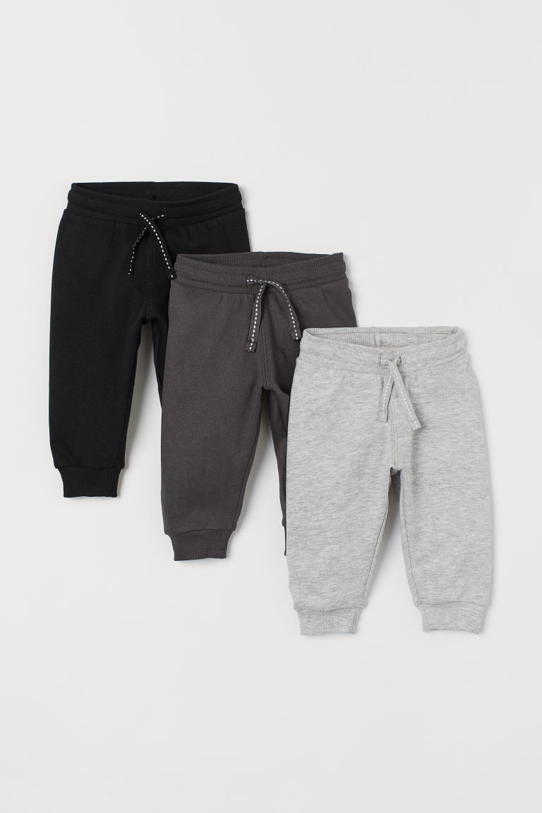 3-pack Cotton Joggers - Black - Kids | H&M US