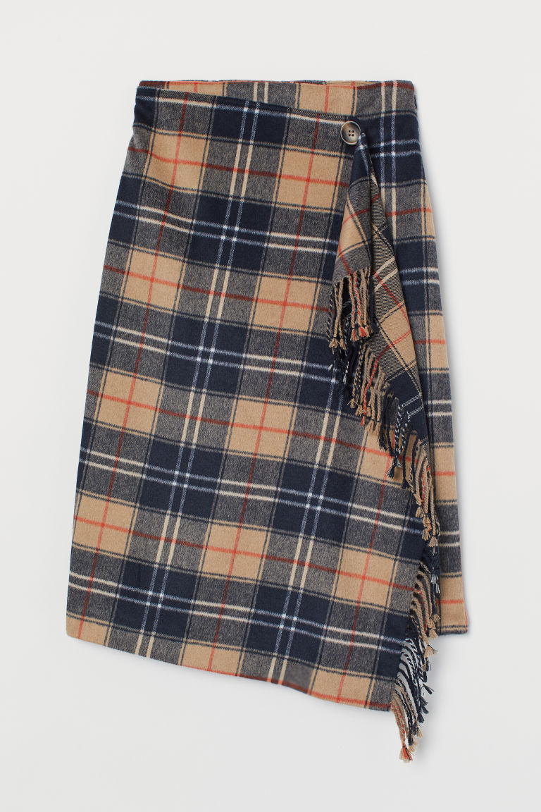 Wrapover Skirt with Fringe - Dark blue/beige checked - Ladies | H&M US