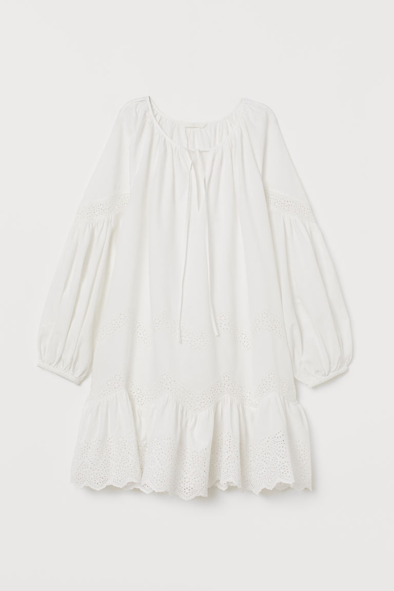 Cotton Dress - White - | H&M US 4