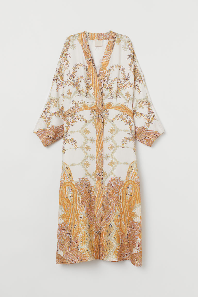 Lyocell-blend Kimono - Cream/paisley-patterned - Ladies | H&M US 5