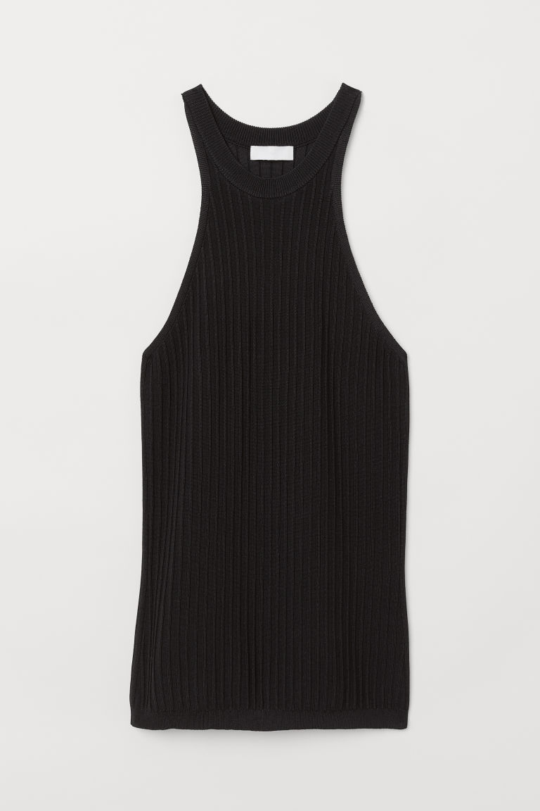 Ribbed Viscose-blend Top - Black - Ladies | H&M US 5