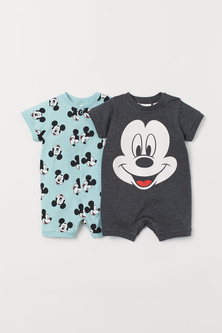2-pack Cotton Jumpsuits - Dark gray/Mickey Mouse - Kids | H&M US