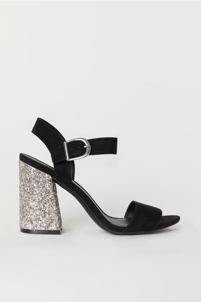 Block-heeled sandals - Black/Silver-coloured - Ladies | H&M IE 1