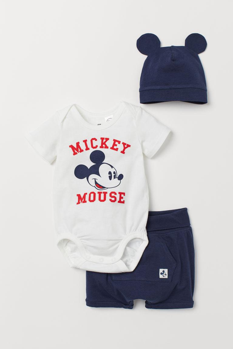 3-piece Jersey Set - Dark blue/Mickey Mouse - Kids | H&M US