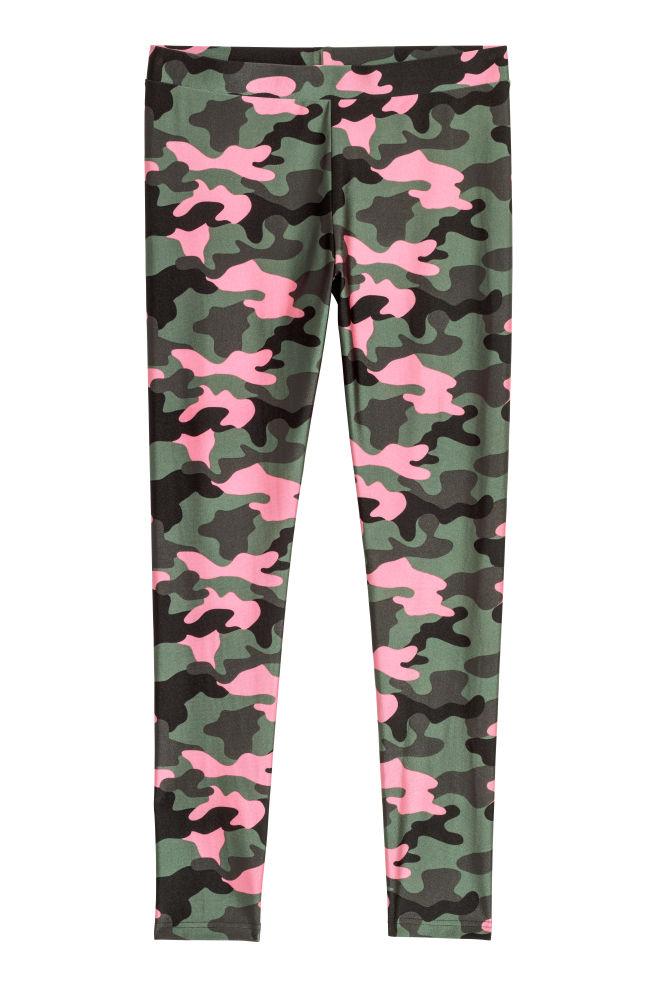 Mönstrade leggings - Mörk khakigrön/Mönstrad - DAM | H&M SE 1
