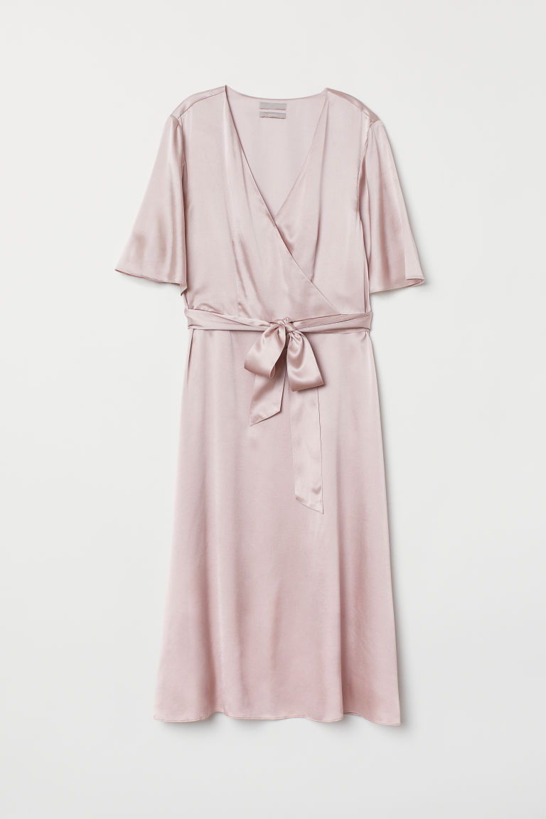 V-neck Silk Dress - Dusky pink - Ladies | H&M US 5