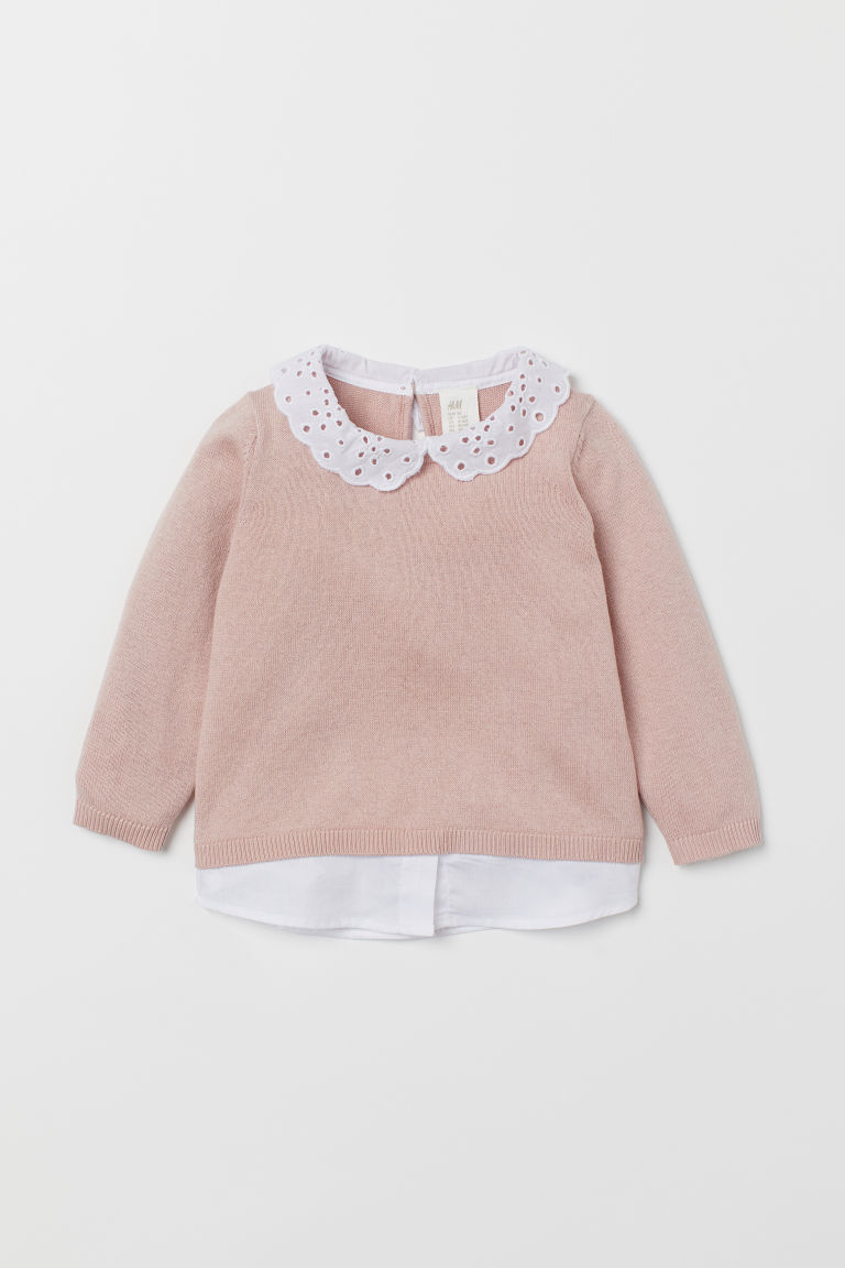 Fine-knit Sweater with Collar - Powder pink/white - Kids | H&M US