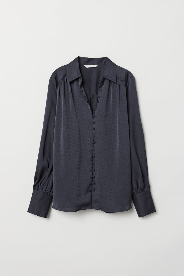 Long-sleeved Blouse - Dark blue - Ladies | H&M US 5