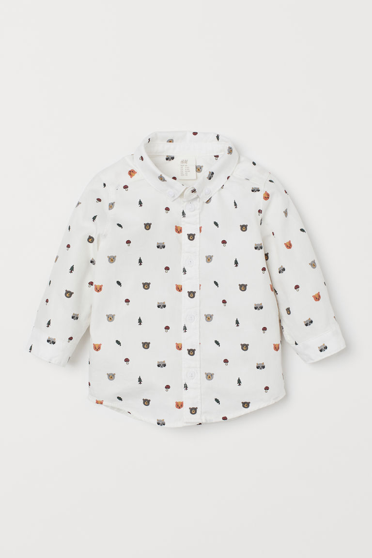 Cotton Shirt - White/animals - Kids | H&M US