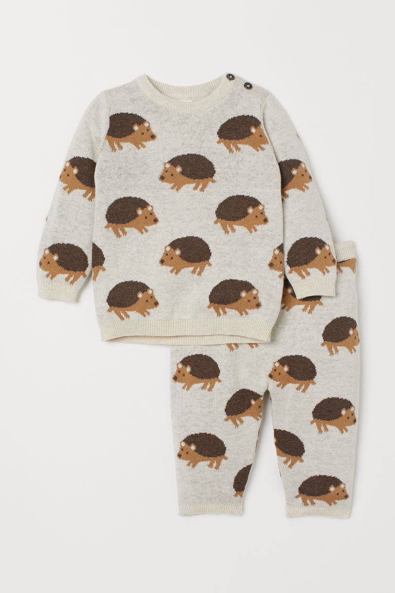 Cotton Sweater and Joggers - Light beige/hedgehogs - | H&M US