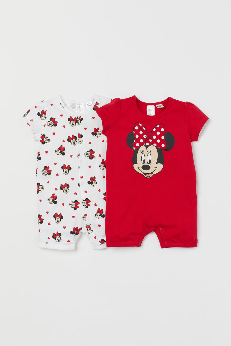 2-pack Cotton Jumpsuits - Red/Minnie Mouse - Kids | H&M US