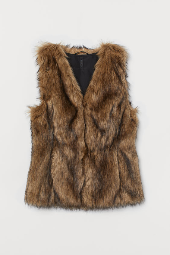 Faux Fur Vest - Light brown - Ladies | H&M US 4