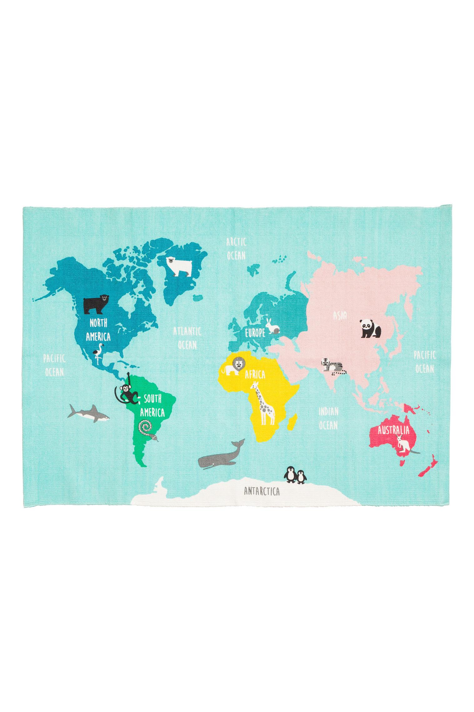 World map motif cotton rug hm kuwait world map motif cotton rug gumiabroncs Image collections