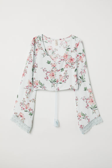 Short blouse with a drawstring - Mint green/Floral - Ladies | H&M
