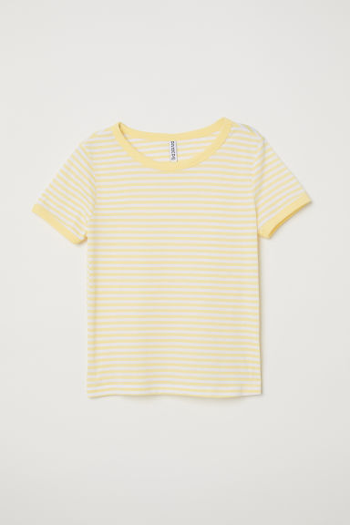 Short T-shirt - Light yellow/White striped -  | H&M
