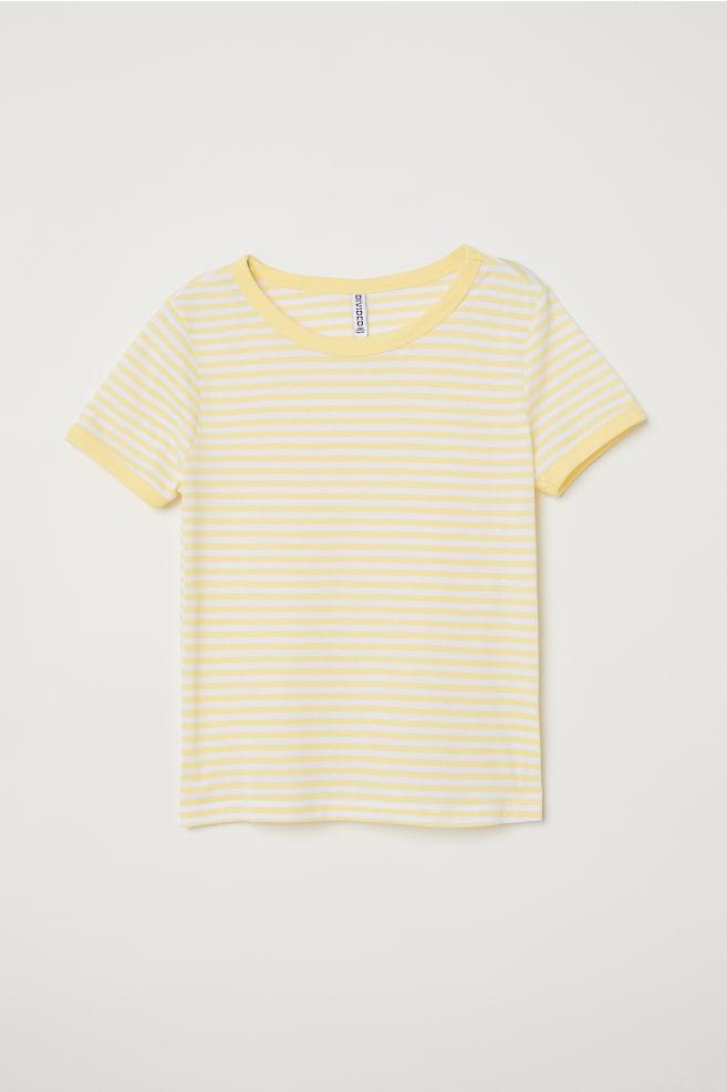 17cba255718e Short T-shirt - Light yellow white striped - Ladies