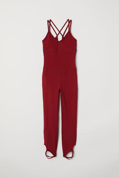 Yoga jumpsuit - Rust red - Ladies | H&M