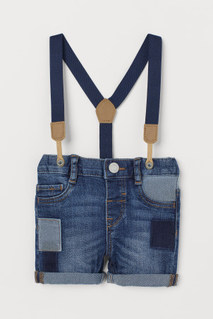 Shorts in denim con bretelle