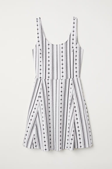 Sleeveless jersey dress - White/Patterned - Ladies | H&M
