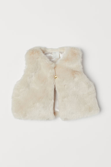 Faux fur gilet - Light beige - Kids | H&M
