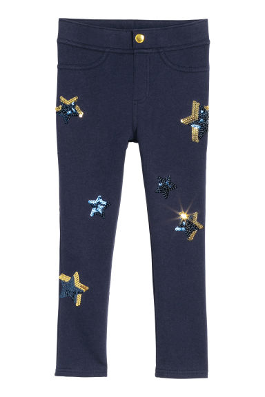 Leggings con paillettes - Blu scuro/stelle -  | H&M IT