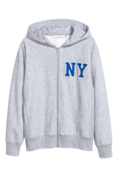 Hooded jacket with embroidery - Grey marl -  | H&M CN