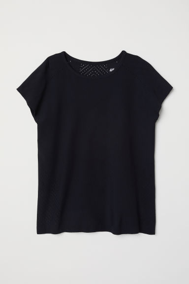 Seamless sports top - Black -  | H&M CN
