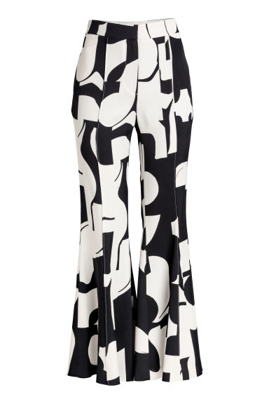 Flared trousers - Black/White patterned - Ladies | H&M CN
