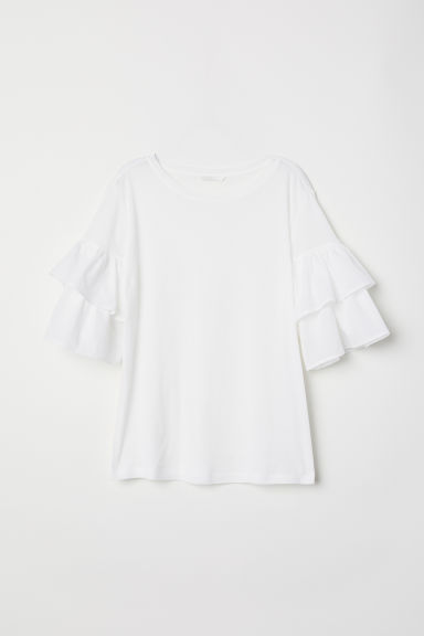 Jersey flounce-sleeved top - White -  | H&M IE