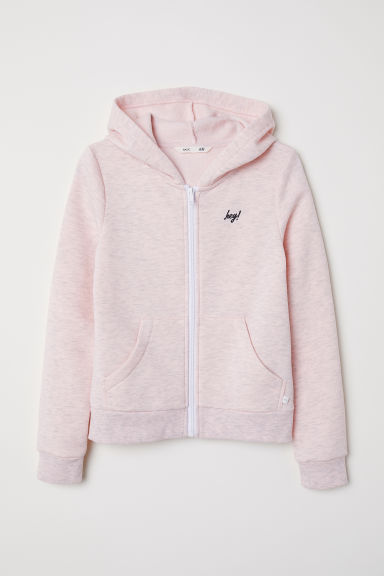 Hooded jacket - Light pink marl - Kids | H&M CN