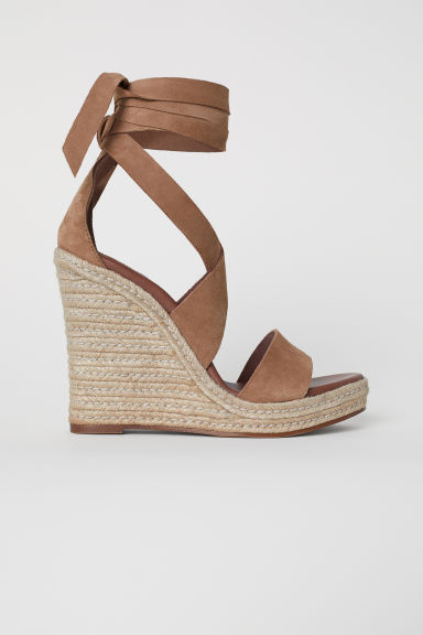 Suede wedge-heel sandals - Light brown - Ladies | H&M CN