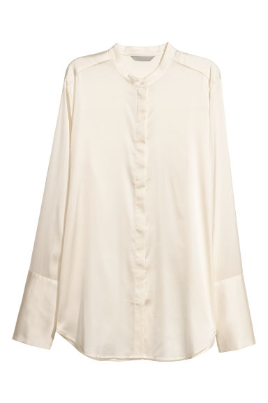 Satin blouse - Natural white -  | H&M IE