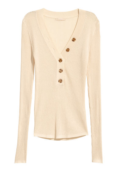 Ribbed jumper - Cream - Ladies | H&M CN