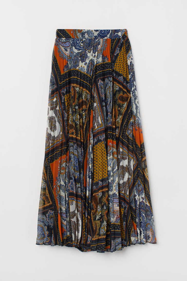 Wrapover skirt - Dark blue/Paisley-patterned - Ladies | H&M