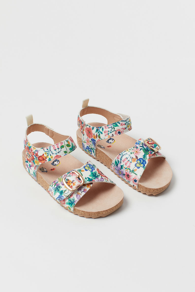 Patterned Sandals - White/floral - Kids | H&M CA