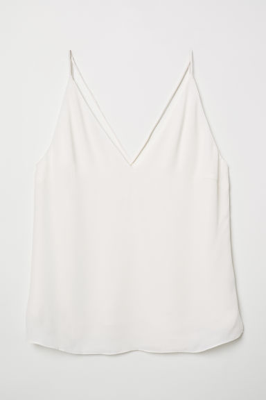 V-neck top - Natural white - Ladies | H&M