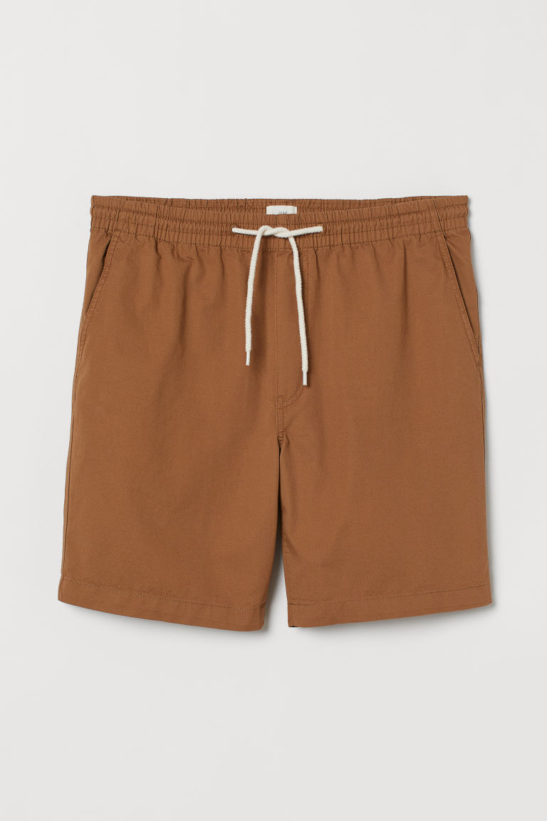 Elasticated cotton shorts - Light brown - Men | H&M IE
