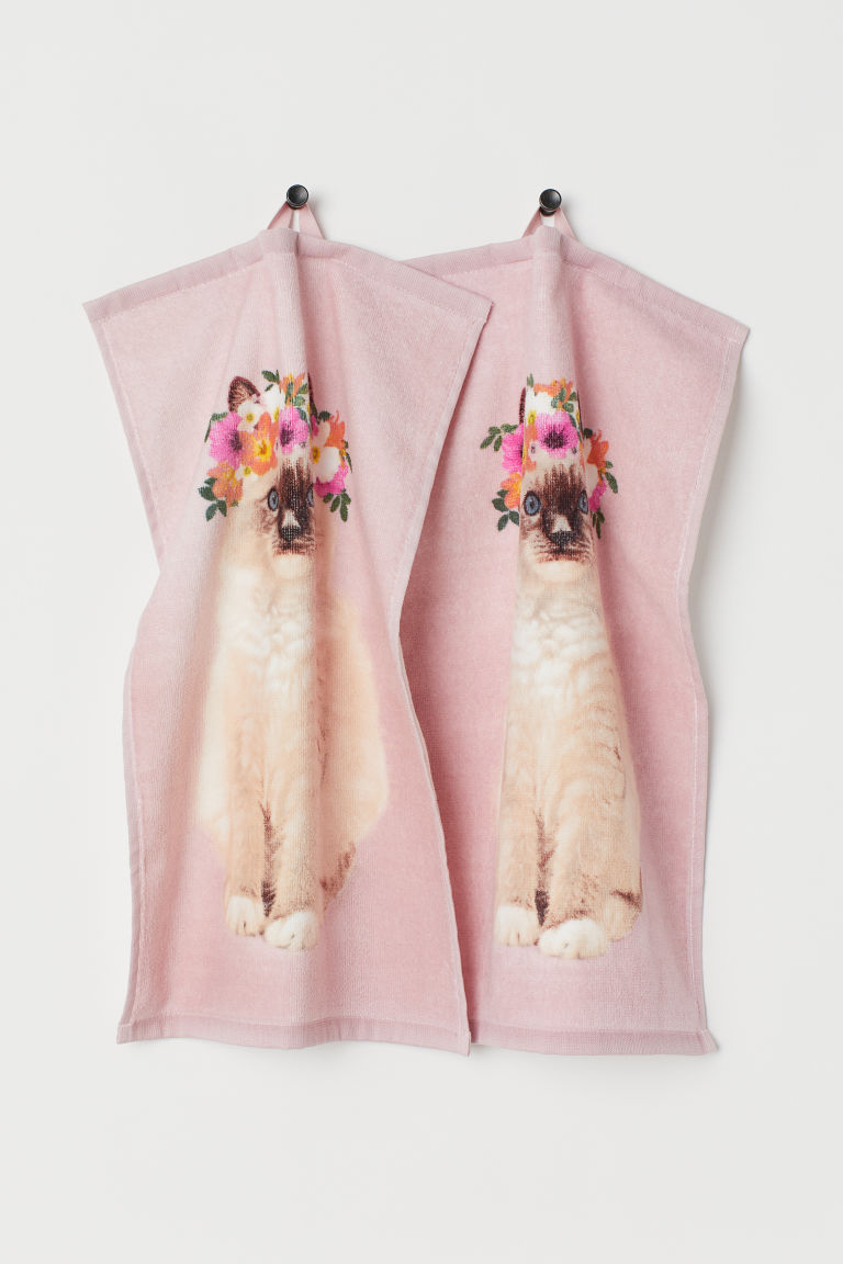 2-pack guest towels - Light pink/Cat - Home All | H&M GB