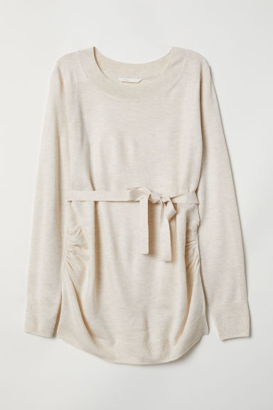 MAMA Knitted jumper - Light beige marl - Ladies | H&M
