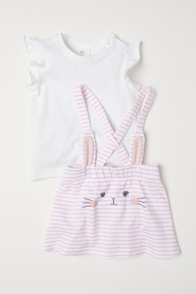 Dungaree dress and top - Light pink/Rabbit -  | H&M