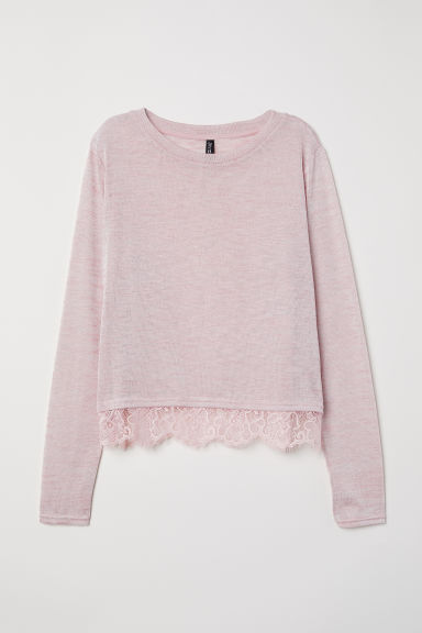 Fine-knit lace-trimmed jumper - Pink marl -  | H&M IE