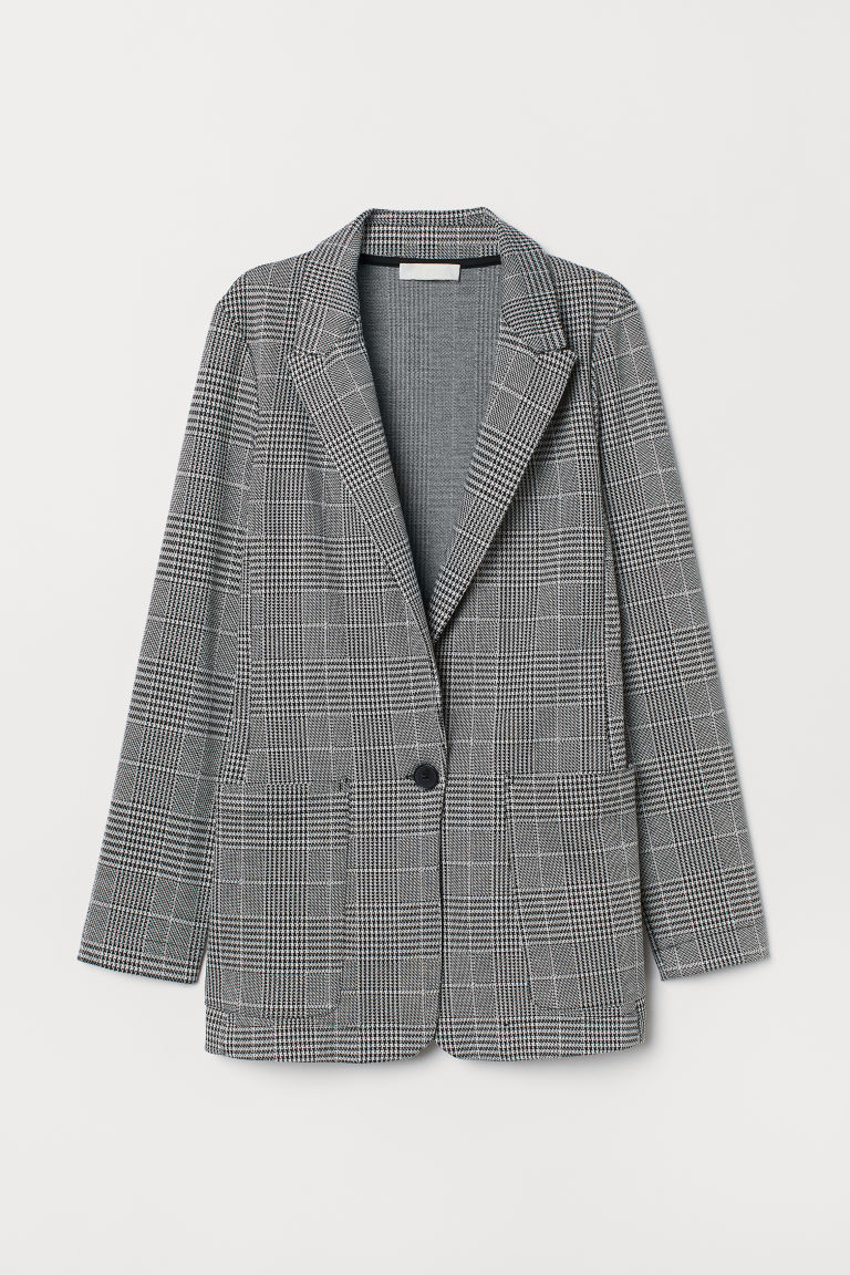 Jersey jacket - Black/Dogtooth-patterned - Ladies | H&M