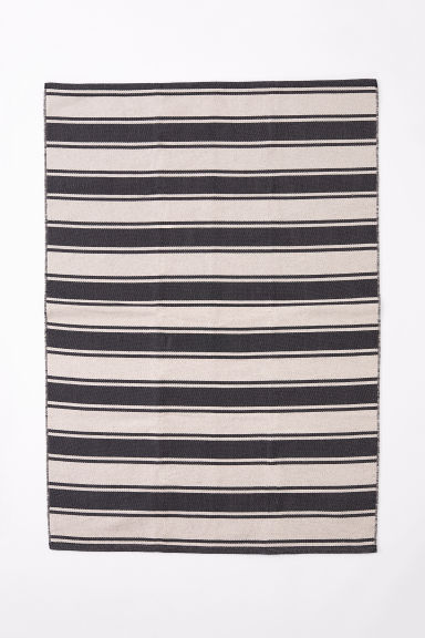 Striped cotton rug - Anthracite grey/Beige - Home All | H&M CN