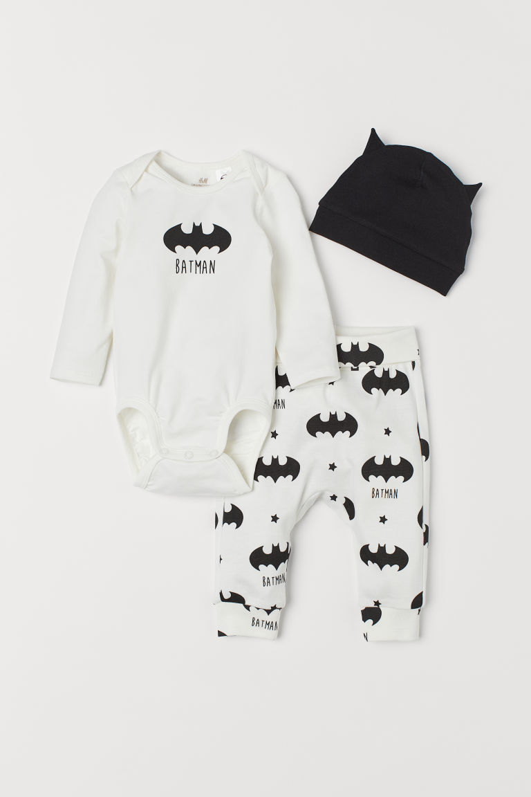 3-piece jersey set - White/Batman - Kids | H&M CN